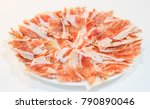 dry cured spanish pork ham in a ... | Shutterstock . vector #790890046