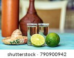 tequila with lime and salt ... | Shutterstock . vector #790900942