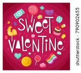 valentine day poster with... | Shutterstock .eps vector #790902655