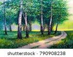 oil painting  forest landscape ... | Shutterstock . vector #790908238