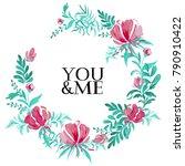 wreath of watercolor pink... | Shutterstock .eps vector #790910422