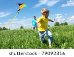 father with son in summer... | Shutterstock . vector #79092316