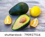 fresh avocado and lemon slices... | Shutterstock . vector #790927516