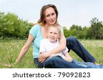 young mother with her son...   Shutterstock . vector #79092823