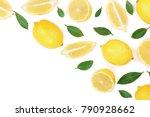 lemon isolated on white... | Shutterstock . vector #790928662