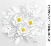 paper flower. chamomile are cut ... | Shutterstock .eps vector #790932316