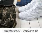 fashion sneakers with military... | Shutterstock . vector #790934512