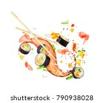 sushi rolls frozen in the air... | Shutterstock . vector #790938028
