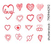 red hand drawn set with hearts. ... | Shutterstock . vector #790944292