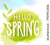hello spring caption on natural ... | Shutterstock .eps vector #790951306