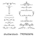 hand drawn floral dividers set | Shutterstock .eps vector #790960696