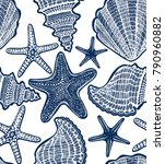 navy blue shell and starfish... | Shutterstock . vector #790960882
