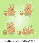 brown bunny juggling with eggs... | Shutterstock .eps vector #790961992