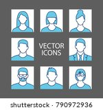 avatar profile picture icon set ... | Shutterstock .eps vector #790972936