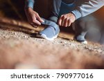close up view hands and shoes... | Shutterstock . vector #790977016