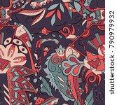 seamless mehndi vector pattern. ... | Shutterstock .eps vector #790979932