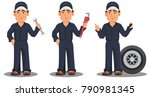 professional auto mechanic in... | Shutterstock .eps vector #790981345