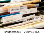 scruffy and untidy file folders ... | Shutterstock . vector #790983466