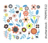 a vector set of fantasy flowers ... | Shutterstock .eps vector #790991512