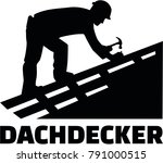 roofer working on top of a roof ... | Shutterstock .eps vector #791000515