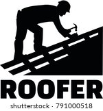 roofer working on top of a roof ... | Shutterstock .eps vector #791000518