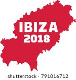 ibiza 2018 with country frontier | Shutterstock .eps vector #791016712