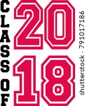 class of 2018 in black and red | Shutterstock .eps vector #791017186