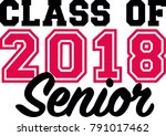 class of 2018 senior black and... | Shutterstock .eps vector #791017462
