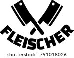 crossed butcher knifes with... | Shutterstock .eps vector #791018026