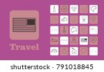 travel line icons for web and...