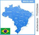 the detailed map of the brazil... | Shutterstock .eps vector #791020666
