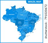 the detailed map of the brazil... | Shutterstock .eps vector #791020672