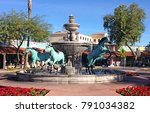 bronze horse fountain on the... | Shutterstock . vector #791034382