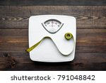 lose weight concept. scale and... | Shutterstock . vector #791048842