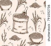 rice . vector seamless pattern | Shutterstock .eps vector #791052736