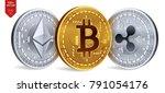 bitcoin. ripple. ethereum. 3d... | Shutterstock .eps vector #791054176