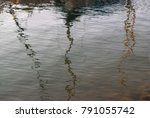 Small photo of Puddle with reflections of trees: the gray surface of the water is small waves and uneven lines reflect the tree trunks.