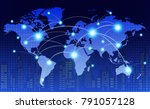 world map with coherent nodes... | Shutterstock .eps vector #791057128