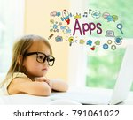 apps text with little girl... | Shutterstock . vector #791061022