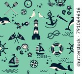 seamless pattern with sailing ... | Shutterstock .eps vector #791064616