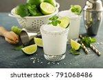frozen lime and mint margarita... | Shutterstock . vector #791068486