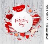 happy valentine's day festive... | Shutterstock .eps vector #791071132