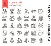 corruption elements   thin line ... | Shutterstock .eps vector #791082958