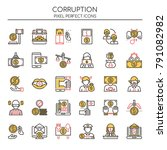 corruption elements   thin line ... | Shutterstock .eps vector #791082982