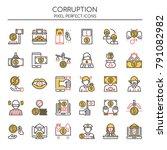 corruption elements   thin line ... | Shutterstock .eps vector #791082982