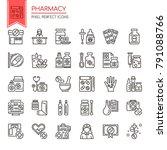 pharmacy elements. thin line... | Shutterstock .eps vector #791088766