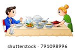 mother preparing food on dining ... | Shutterstock .eps vector #791098996