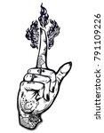 human tattooed hand with magic... | Shutterstock .eps vector #791109226