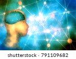 silhouette of a man's head.... | Shutterstock . vector #791109682