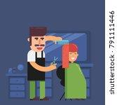 hairstylist working in beauty... | Shutterstock .eps vector #791111446
